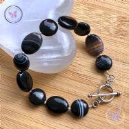 Black Sardonyx Oval & Coin Bracelet